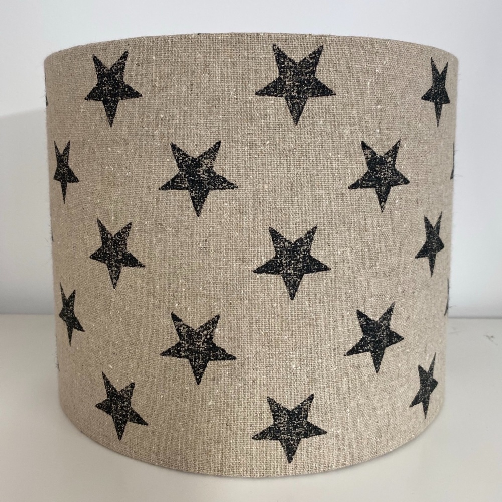 Drum lampshade made in linen with Black Star Stars