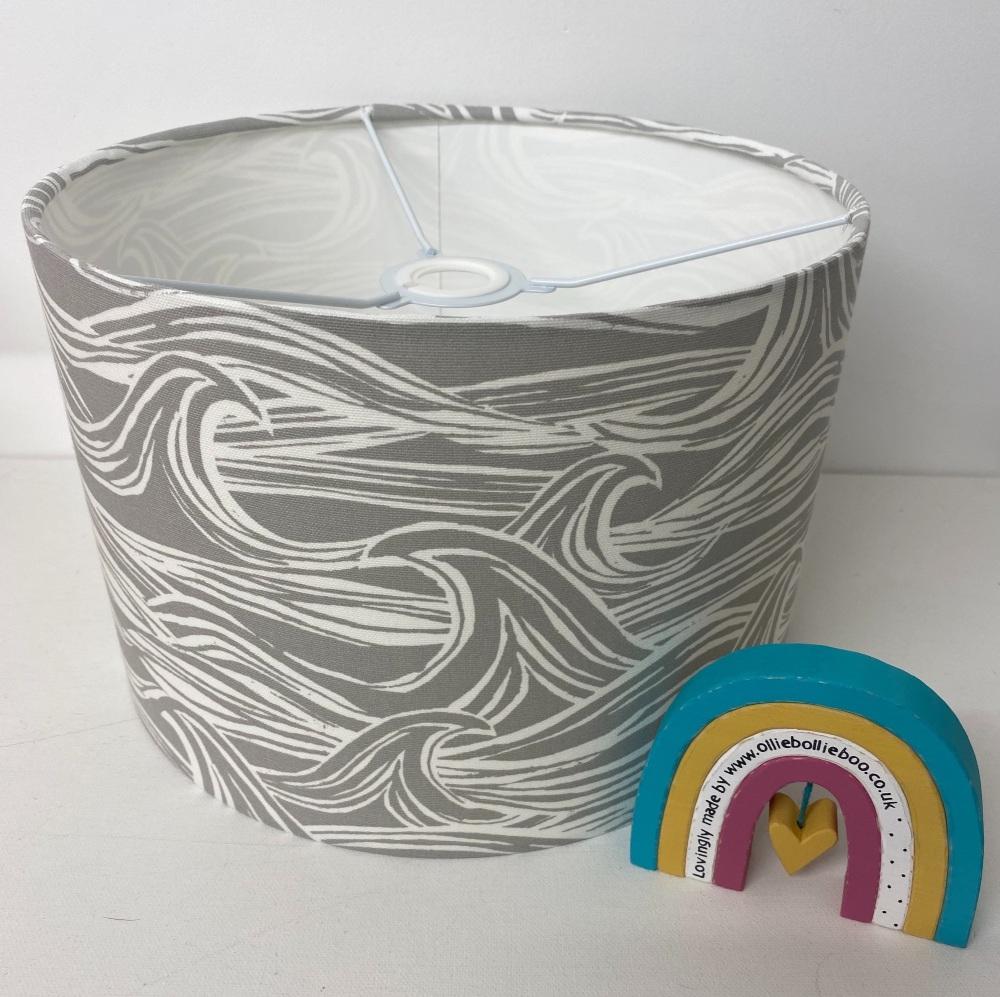 Bespoke Custom Handmade Coastal Waves Grey Nautical  Lampshade