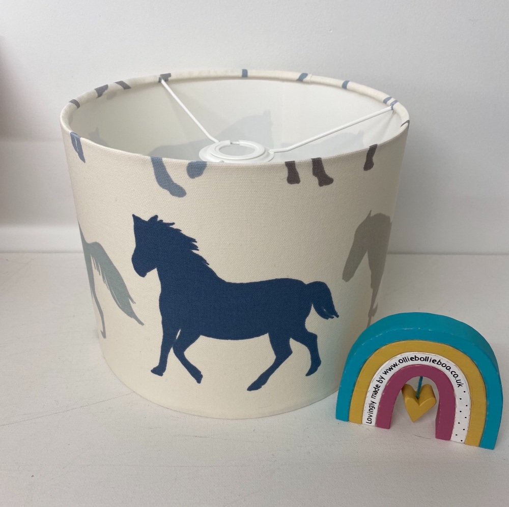 Bespoke Custom Handmade Stampede Blue Grey Pony Ponies Horse Denim Animal L