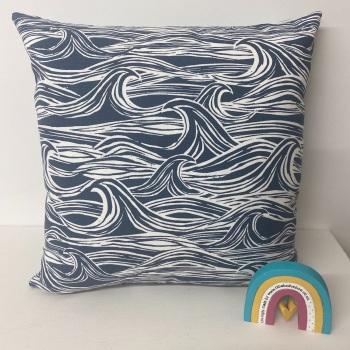 Waves Cushion - Navy Blue Surf Fabric