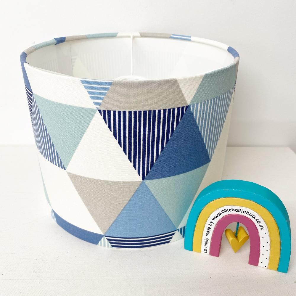 Blue Grey Triangle Geometric Lampshade