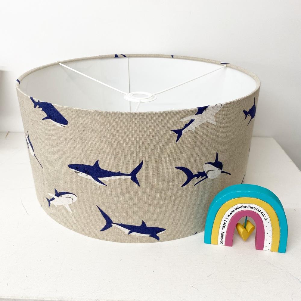 Bespoke Custom Handmade Beige blue linen shark Lampshade