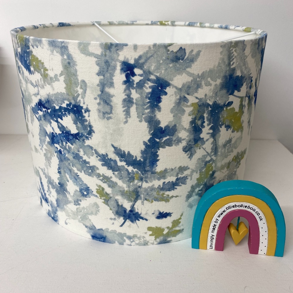 Handmade Fern Leaf Lampshade in Studio G Arielli Citrus Teal Fabric