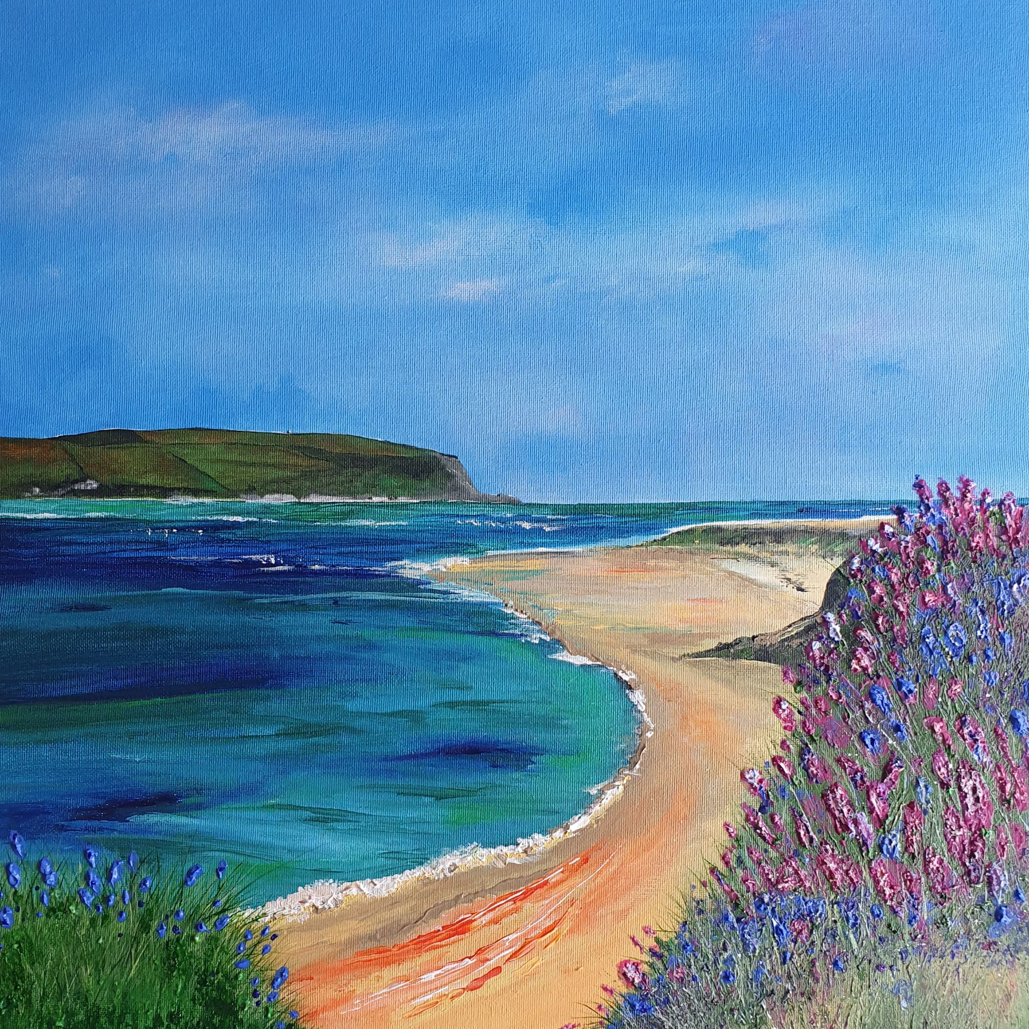 Original Cornish landscape painting by artist Beverley Ismail