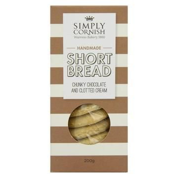 Simply Cornish Chunky Chocolate & Clotted Cream Shortbread Biscuits 200g