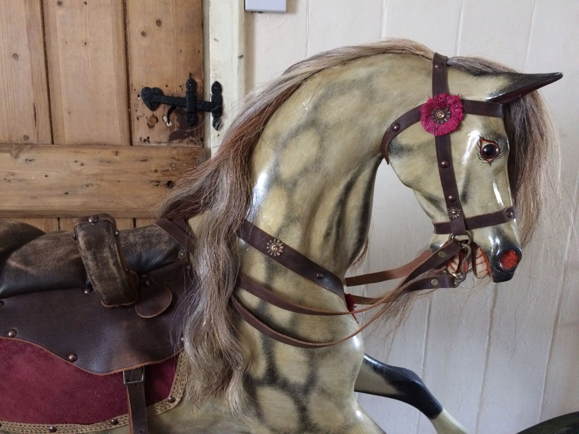 Large Antique rocking horse on a bow rocker for sale