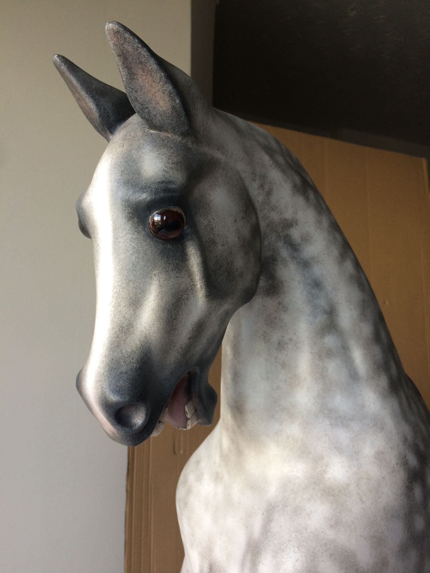 Haddon rocking horse  undergoing restoration in a realistic style