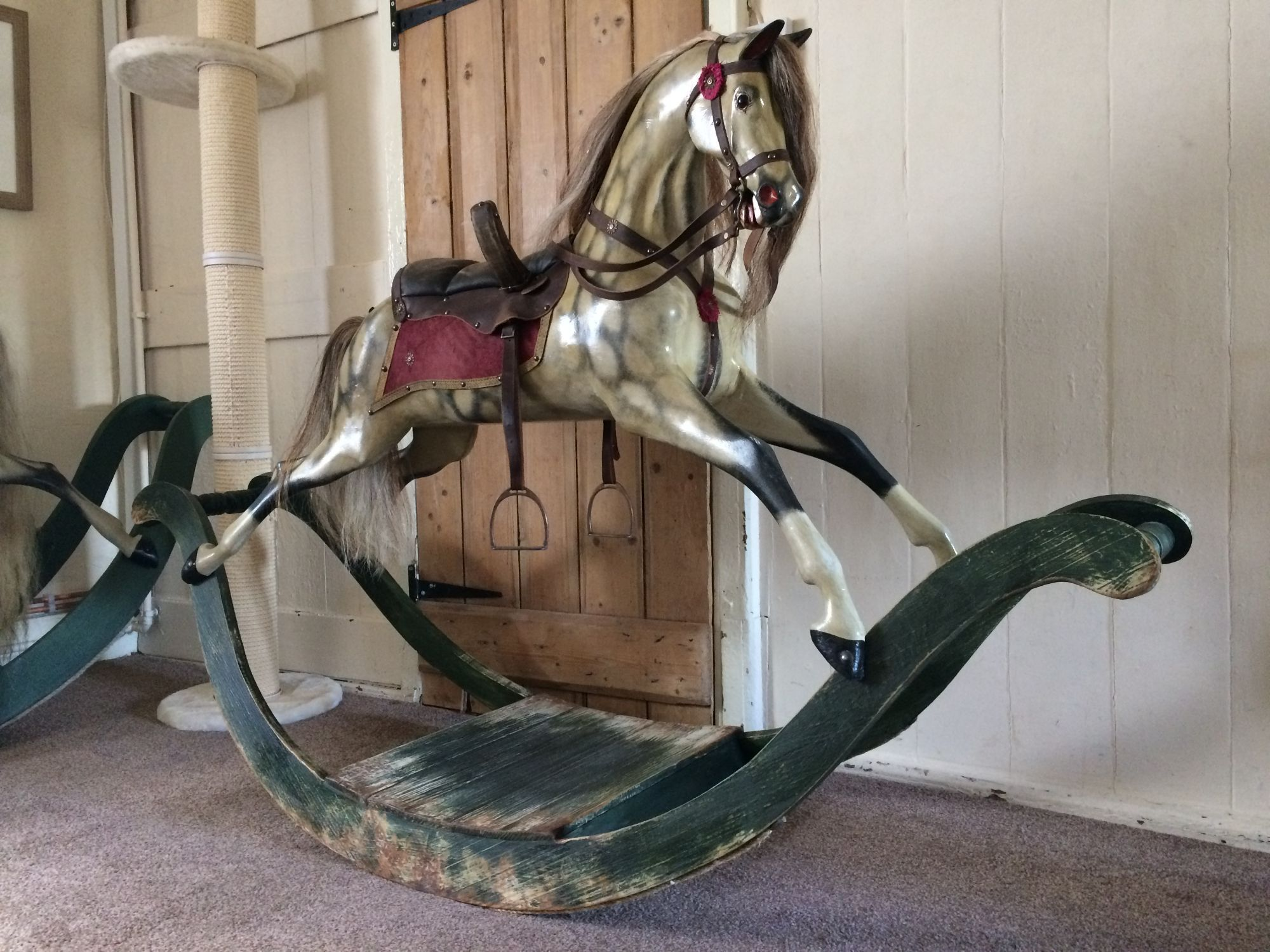 Antique rocking horse on bow rocker circa 1860