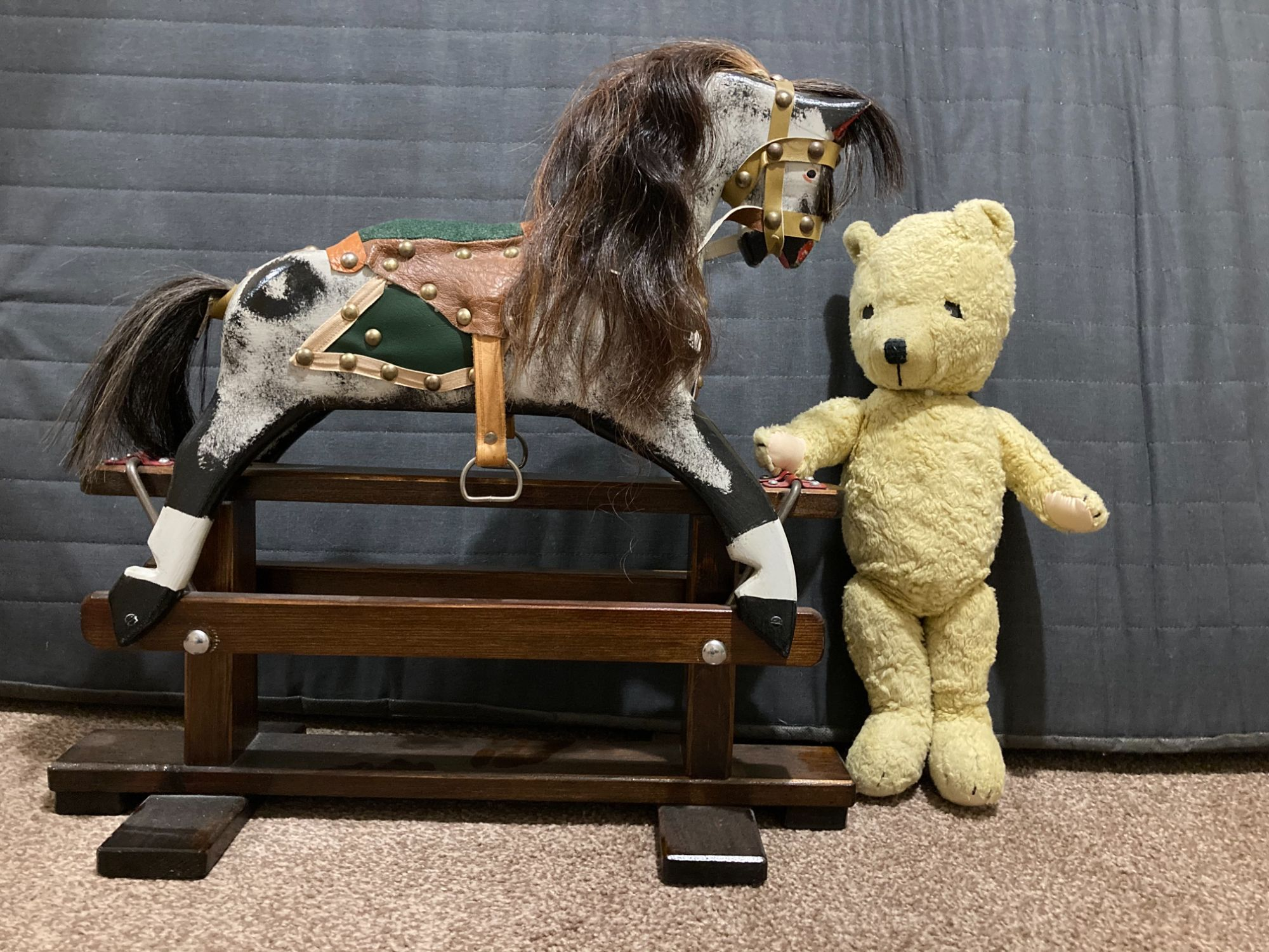Rare dolls size miniature Collinsons rocking horse