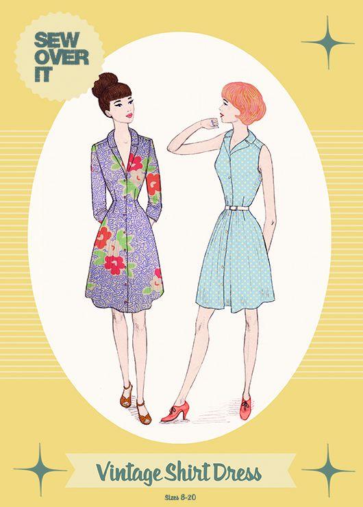 Vintage Shirt Dress Sewing Pattern