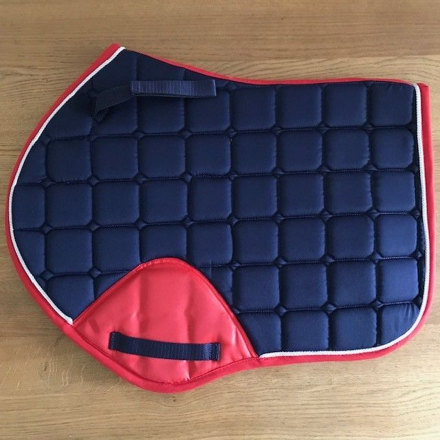Close Contact Saddle Pad, Navy and Red with silver trim