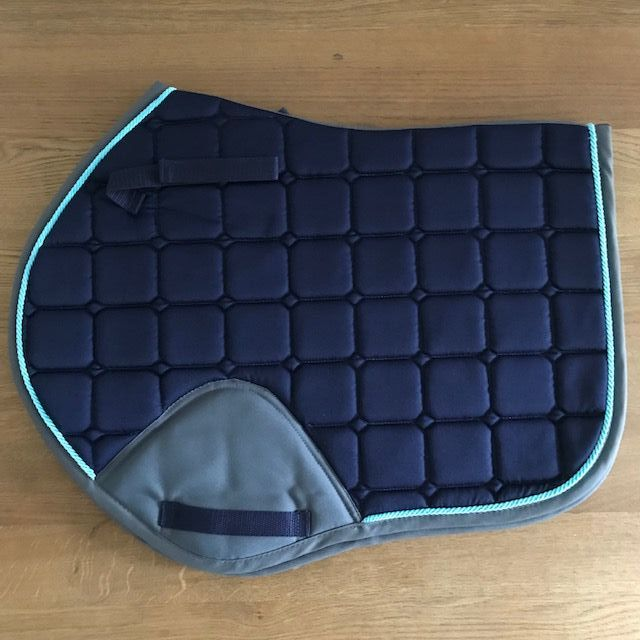 Close Contact Saddle Pad, Navy and Grey with Turquoise Trim
