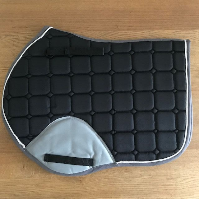 Close Contact Saddle Pad, Black and Grey with Silver Trim