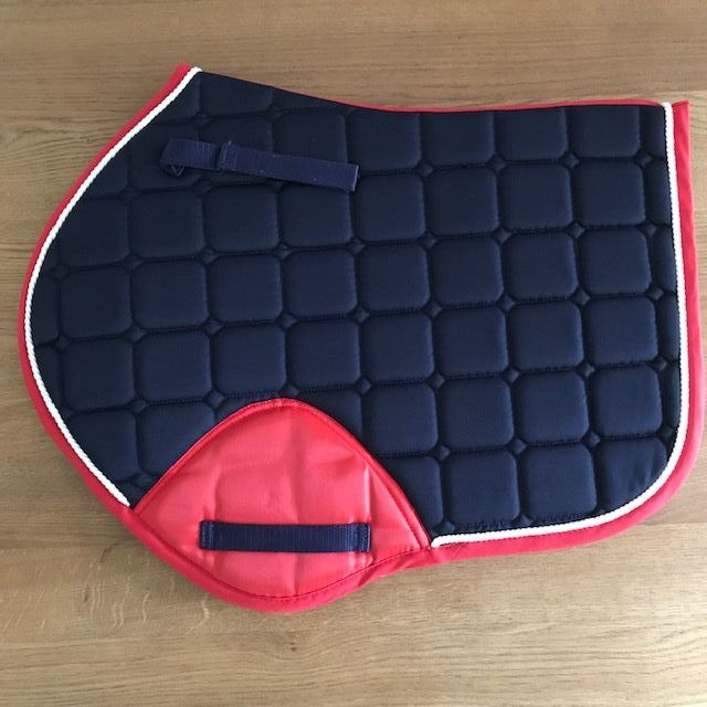 Close Contact Saddle Pad, Navy and Red with White Trim