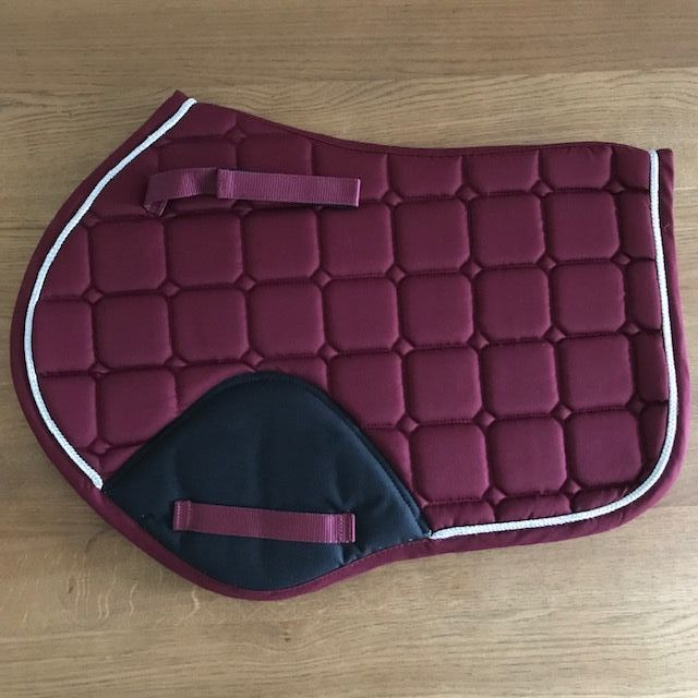 Close Contact Saddle Pad, Burgundy and Black with Silver Trim