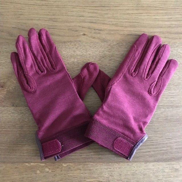 Cotton Riding Gloves, Burgundy