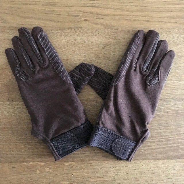 Cotton Riding Gloves, Brown