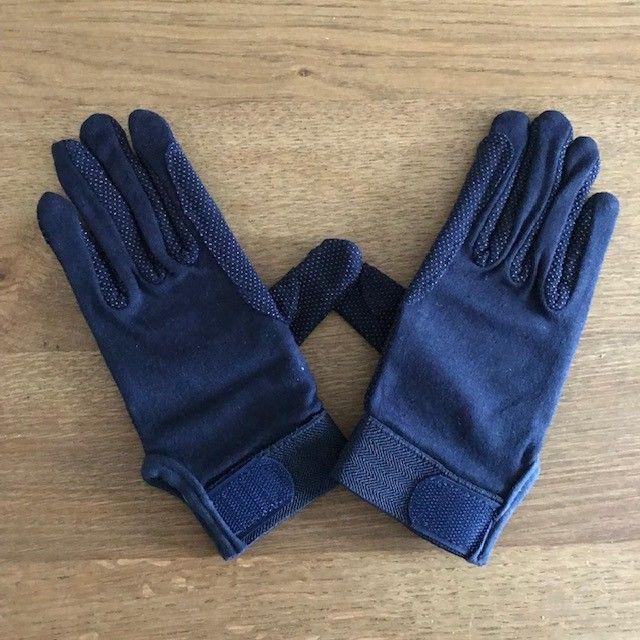 Cotton Riding Gloves, Navy