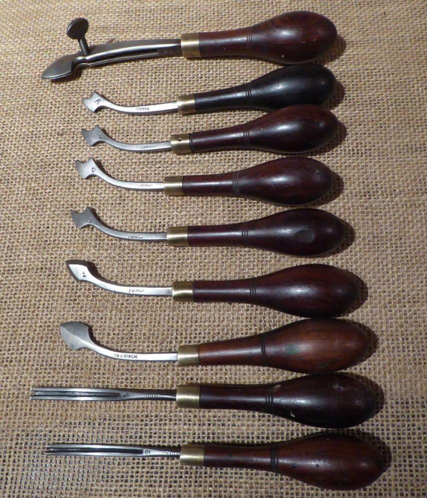8 x J Dixon Leather Working Tools Plus Screw Creasing Iron