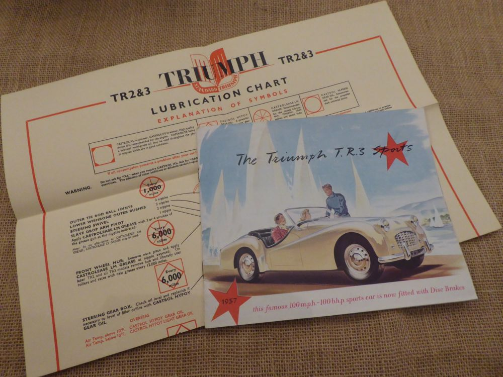 The Triumph T.R.3 Sports Car Brochure 1957 With Triumph Lubrication Chart