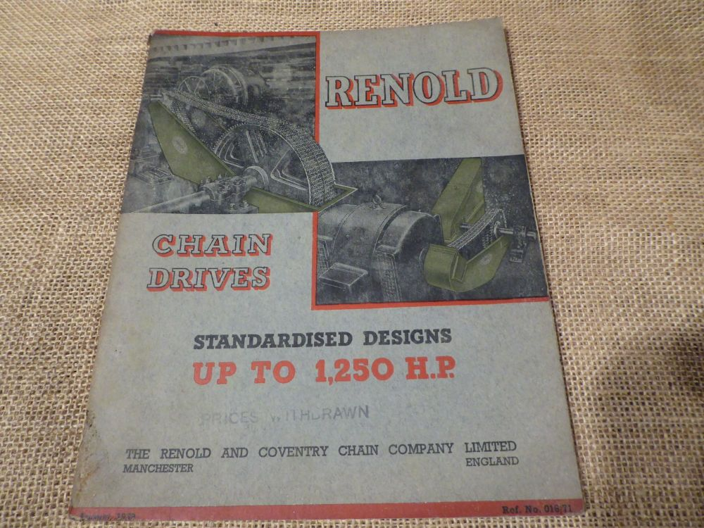 Renold Chain Drives - Standardised Designs Up To 1,250HP Catalogue 1939