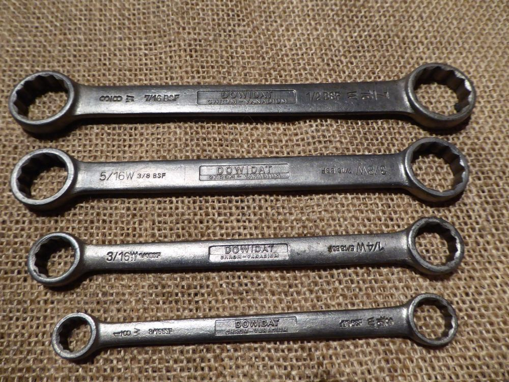 Set Of 4 Dowidat No.4 Flat Ring Spanners - 3/16