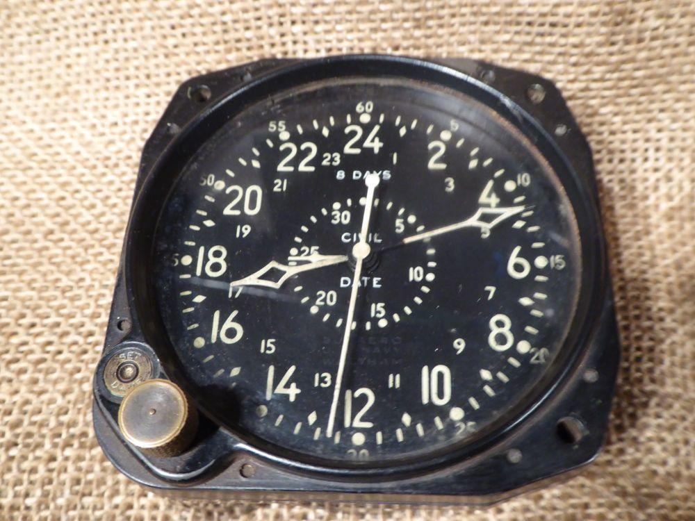 Waltham Watch Co. 8 Days Aircraft Clock - Civil Date - Military Aviation