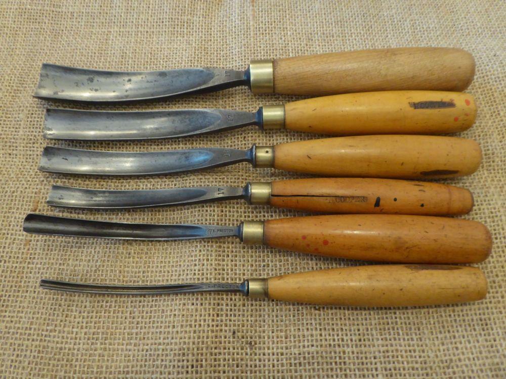 6 x E. Preston Wood Carving Tools
