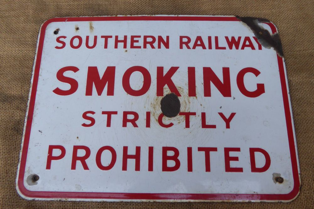 Vintage Southern Railway - Smoking Strictly Prohibited Enamel Sign