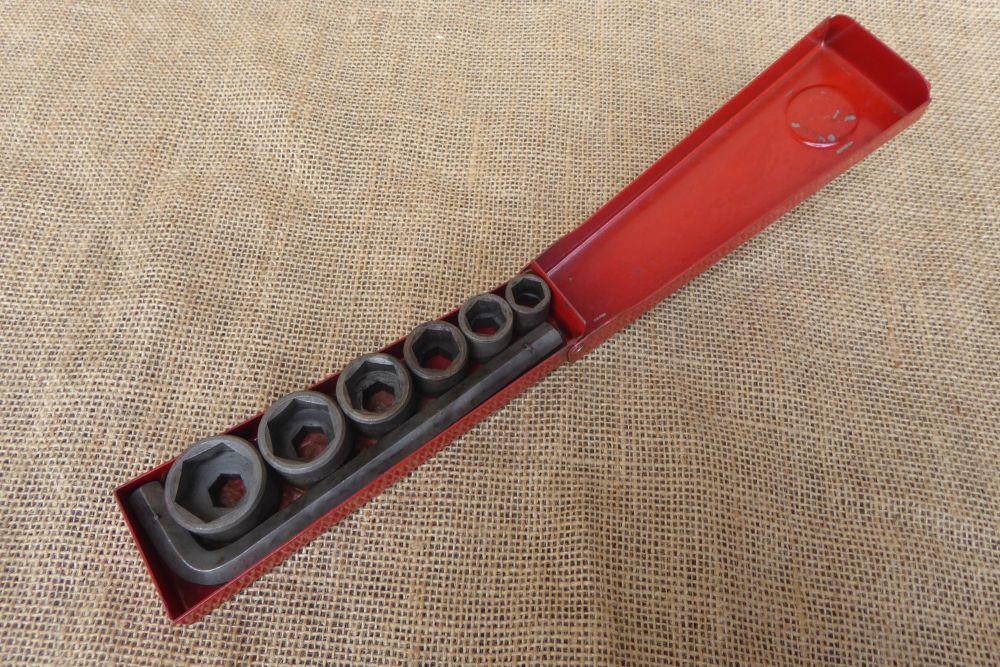 "Vintage Britool 2061 Hexagon Drive Whitworth Socket Set - 3/16"" - 1/2"" W."