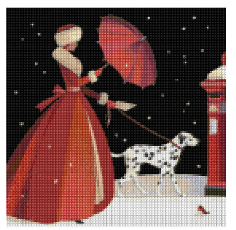 Christmas lady with dalmatian