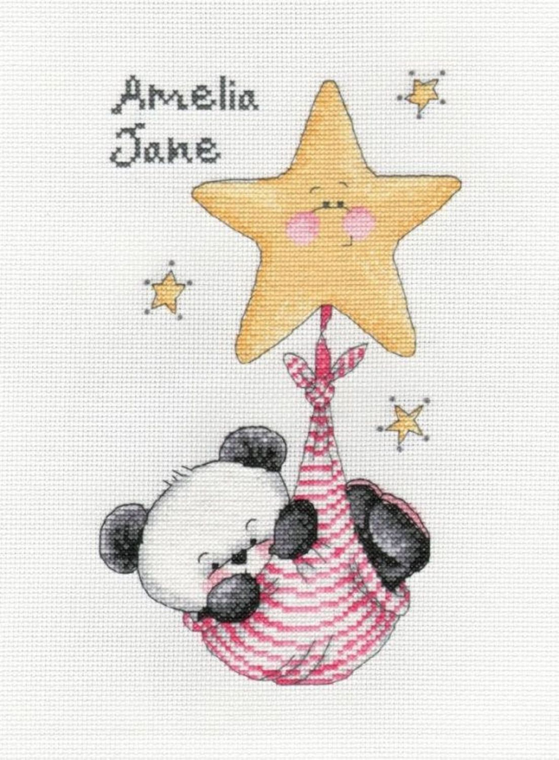 Party Paws swinging on a star - girl birth sampler