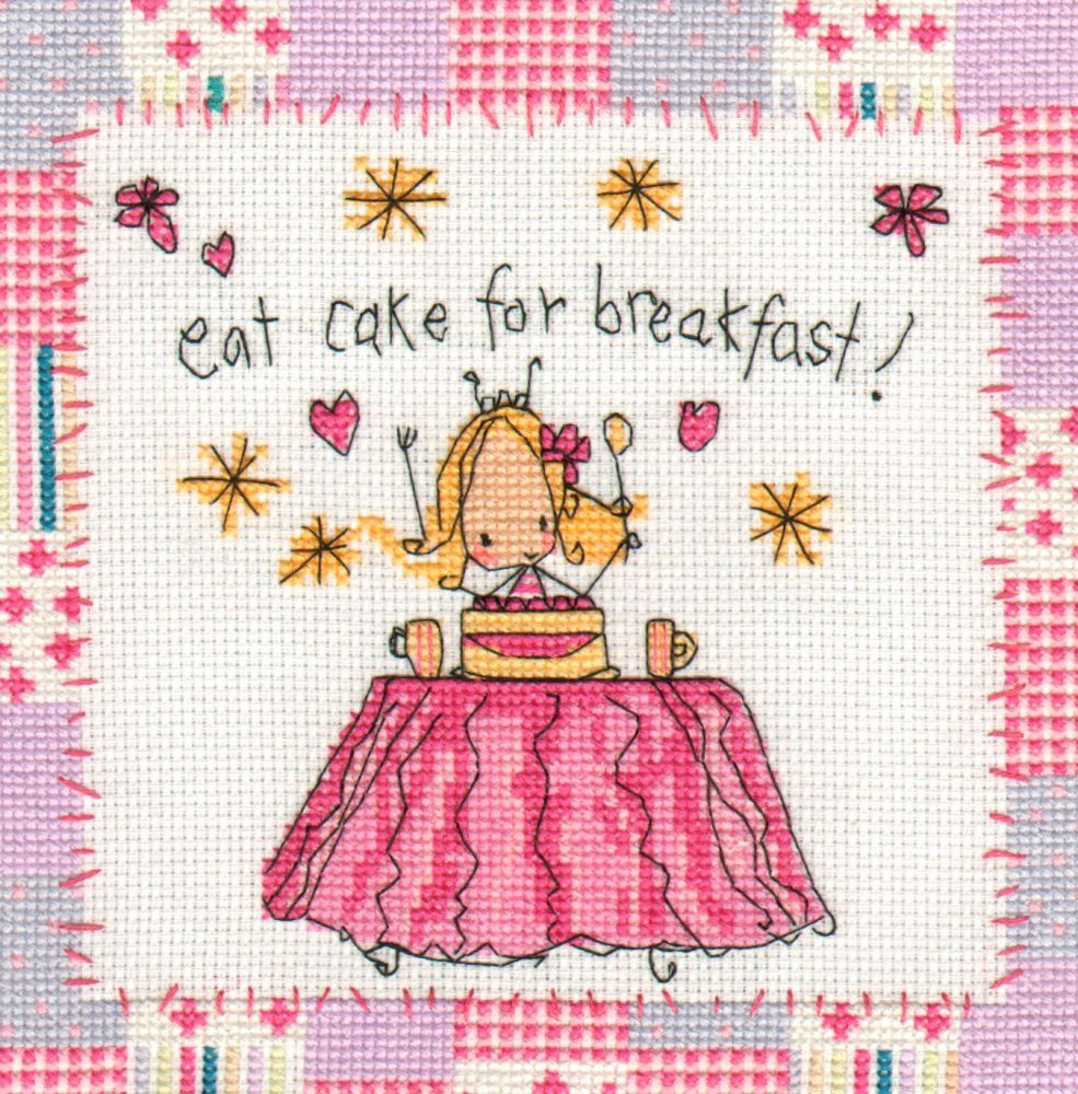 """Juicy Lucy """"Eating cake for breakfast"""" Cross stitch design"""