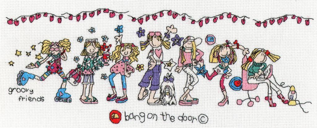 Groovy friends cross stitch