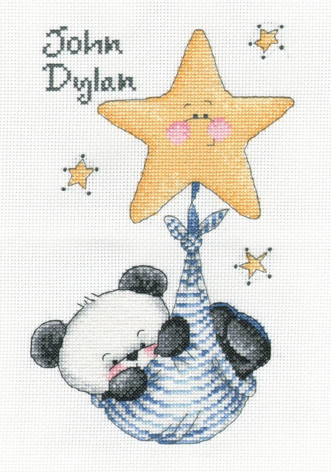 Party Paws - swinging on a star - twin boys cross stitch