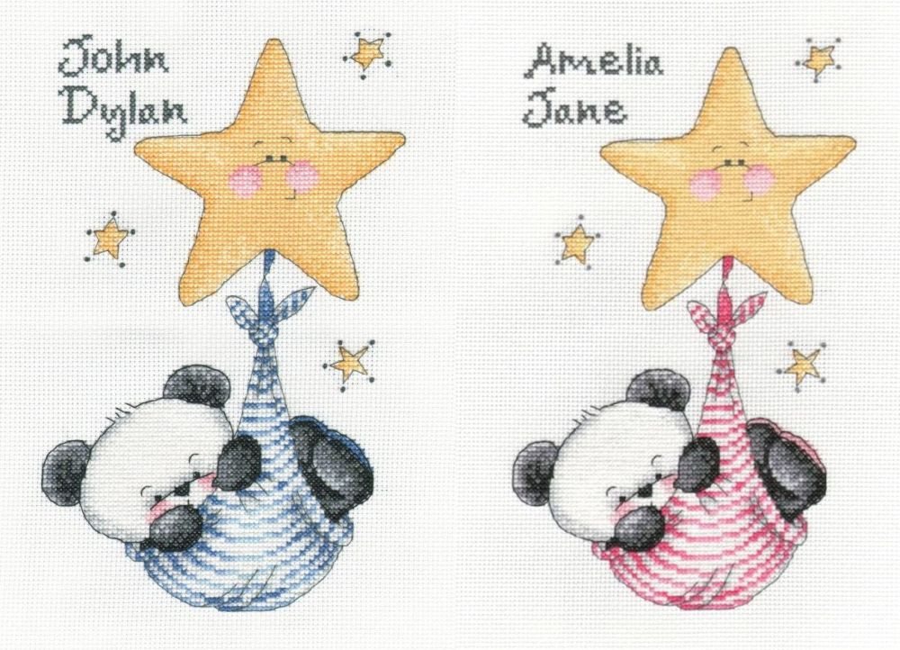Party Paws - swinging on a star - twin boy & girl cross stitch