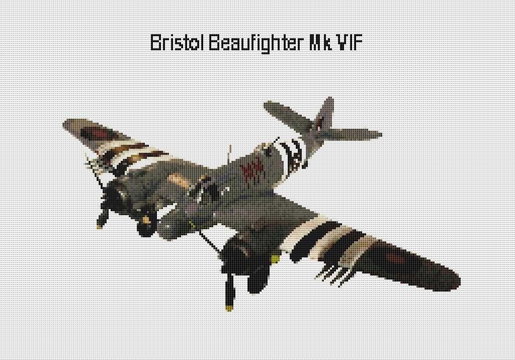 Bristol Beaufighter plane cross stitch