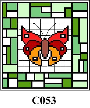 Butterfly & green tile picture cross stitch kit CO53