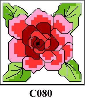 Red floral picture cross stitch kit CO80