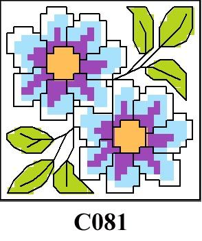 Blue floral picture cross stitch kit CO81