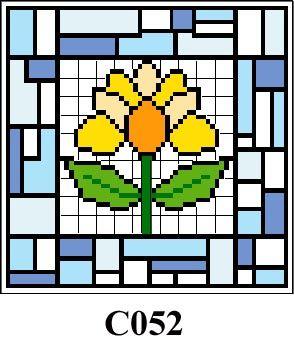 Floral tile picture cross stitch kit CO52
