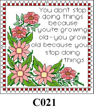 """Floral picture """"You don't stop..."""" cross stitch kit CO21"""
