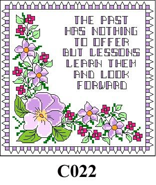"""Floral picture """"The past has nothing ..."""" cross stitch kit CO22"""