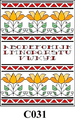Flowers with red alphabet cross stitch kit CO31