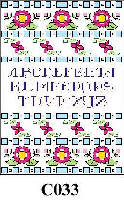 Flowers with blue alphabet cross stitch kit CO33