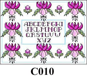 Cyclamen flowers with alphabet cross stitch kit CO10