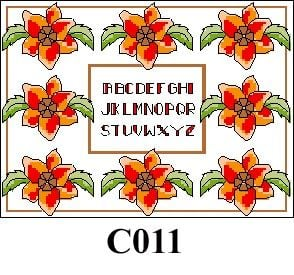 Flowers with alphabet picture cross stitch kit CO11