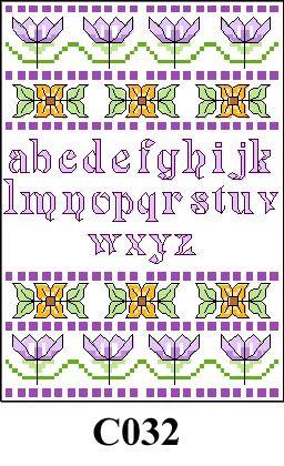 Flowers with mauve alphabet cross stitch kit CO32