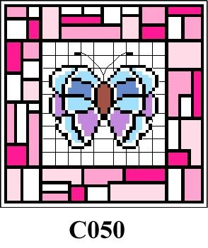 Butterfly & pink tile picture cross stitch kit - CO50
