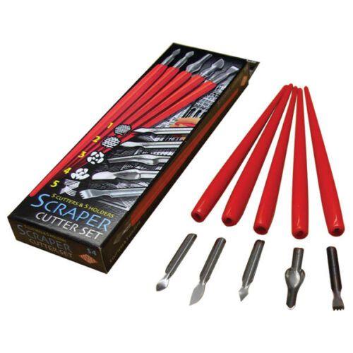 Essdee Scraper Cutter Set 5 Assorted Cutters & Holders for scraper board